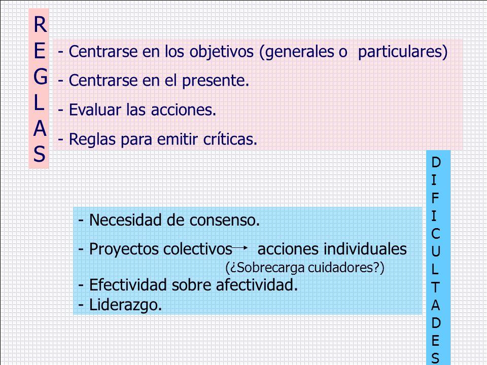 REGLAS - Centrarse en los objetivos (generales o particulares)