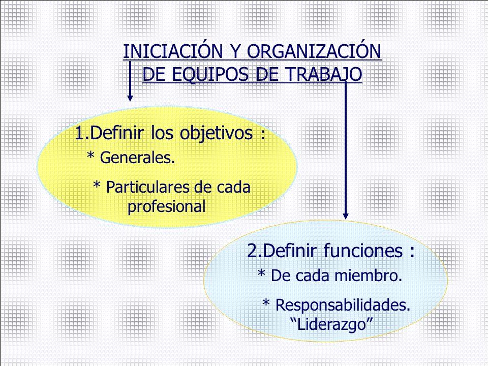 INICIACIÓN Y ORGANIZACIÓN DE EQUIPOS DE TRABAJO