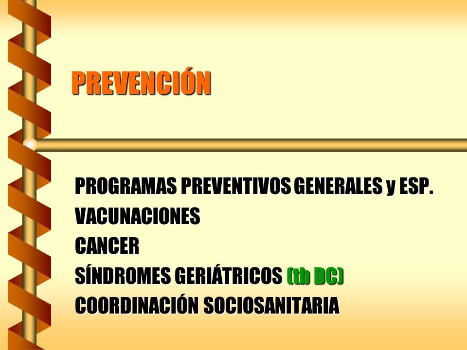 PREVENCIÓN PROGRAMAS PREVENTIVOS GENERALES y ESP. VACUNACIONES CANCER