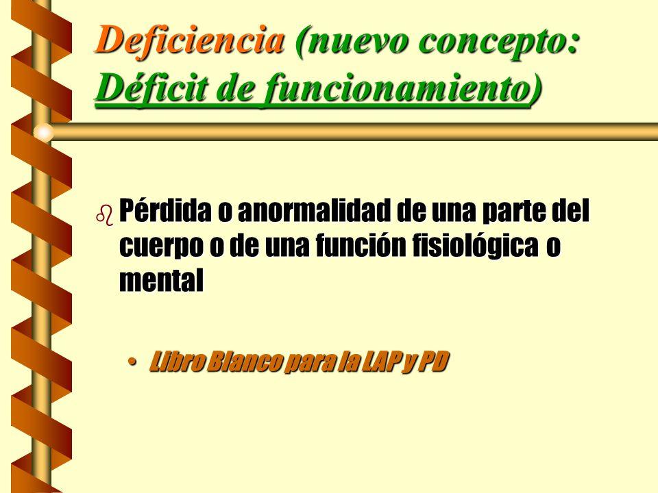 Deficiencia (nuevo concepto: Déficit de funcionamiento)