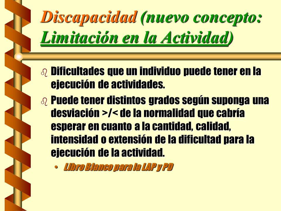 Discapacidad (nuevo concepto: Limitación en la Actividad)
