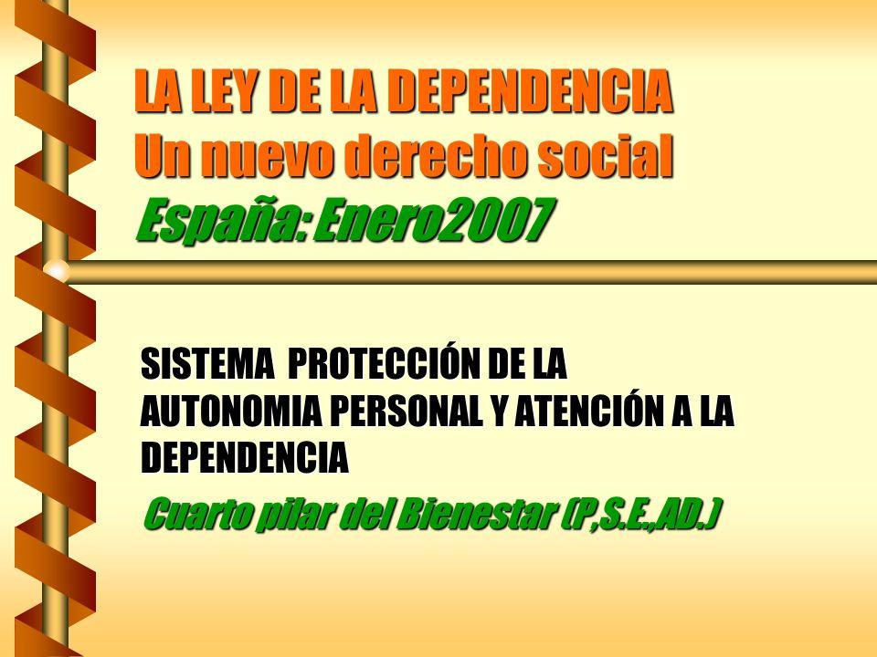LA LEY DE LA DEPENDENCIA Un nuevo derecho social España: Enero2007