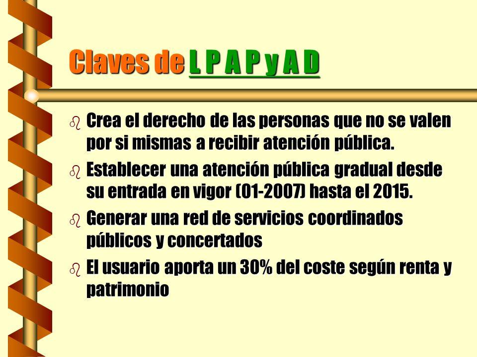 Claves de L P A P y A D Crea el derecho de las personas que no se valen por si mismas a recibir atención pública.