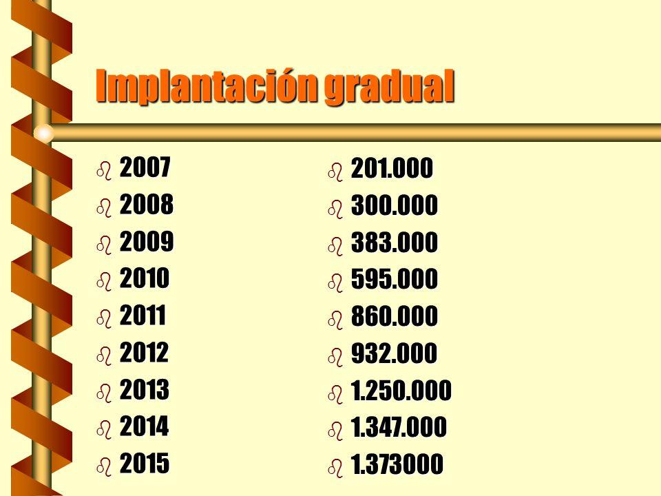 Implantación gradual 2007. 2008. 2009. 2010. 2011. 2012. 2013. 2014. 2015. 201.000. 300.000.