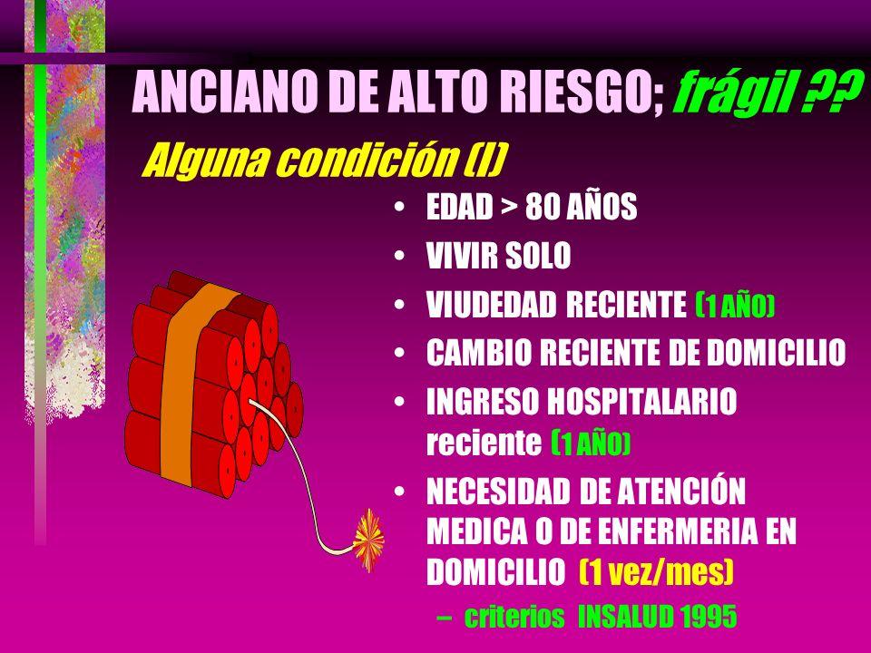 ANCIANO DE ALTO RIESGO; frágil Alguna condición (I)