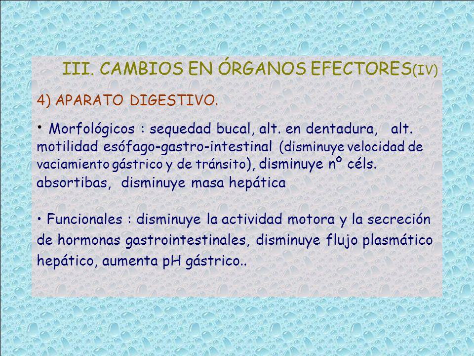 III. CAMBIOS EN ÓRGANOS EFECTORES(IV)