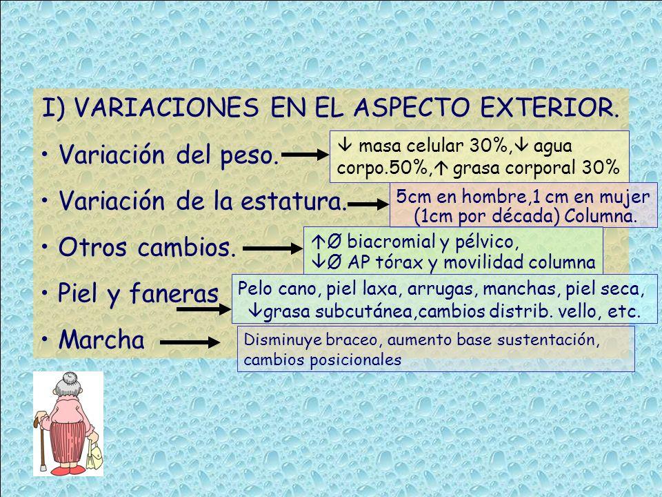 I) VARIACIONES EN EL ASPECTO EXTERIOR. Variación del peso.