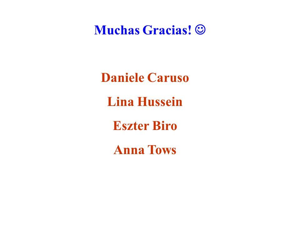 Muchas Gracias!  Daniele Caruso Lina Hussein Eszter Biro Anna Tows