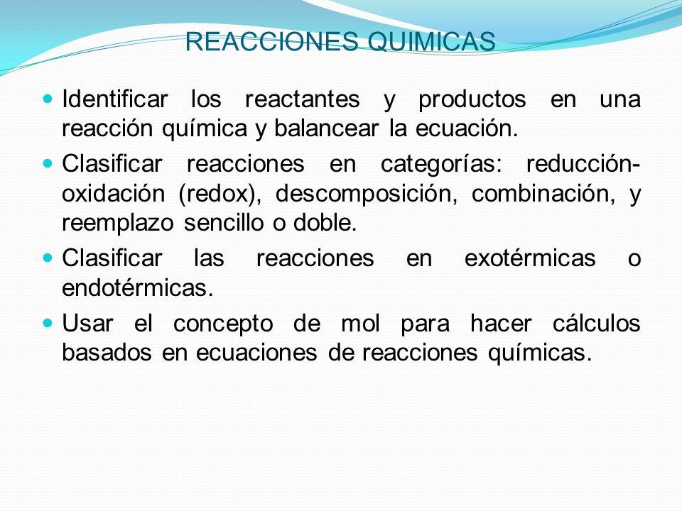 REACCIONES QUIMICAS Identificar los reactantes y productos en una reacción química y balancear la ecuación.