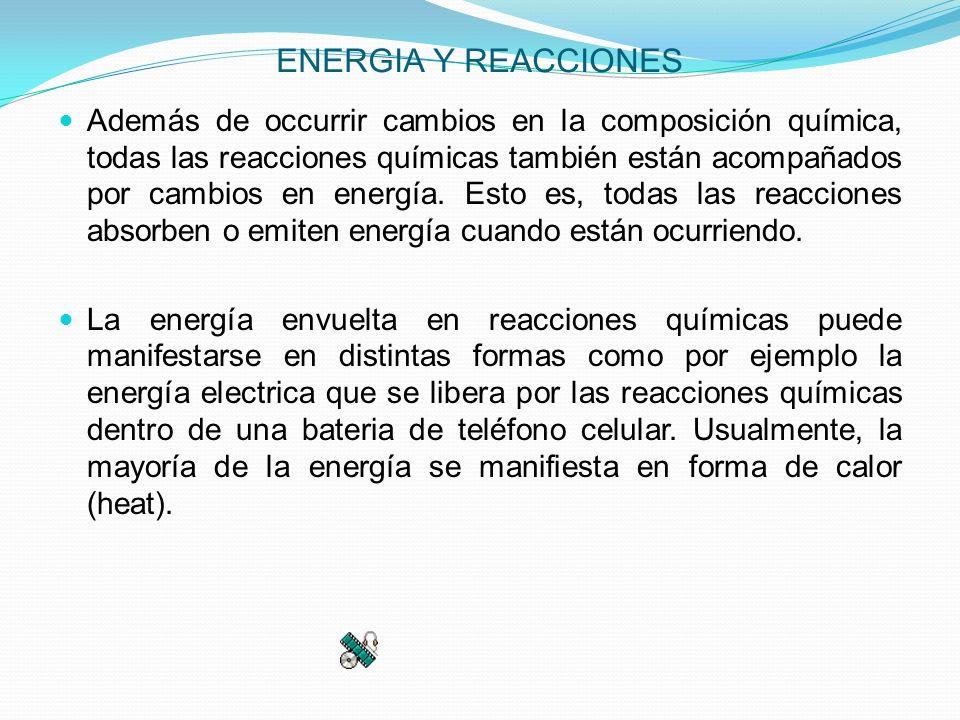 ENERGIA Y REACCIONES