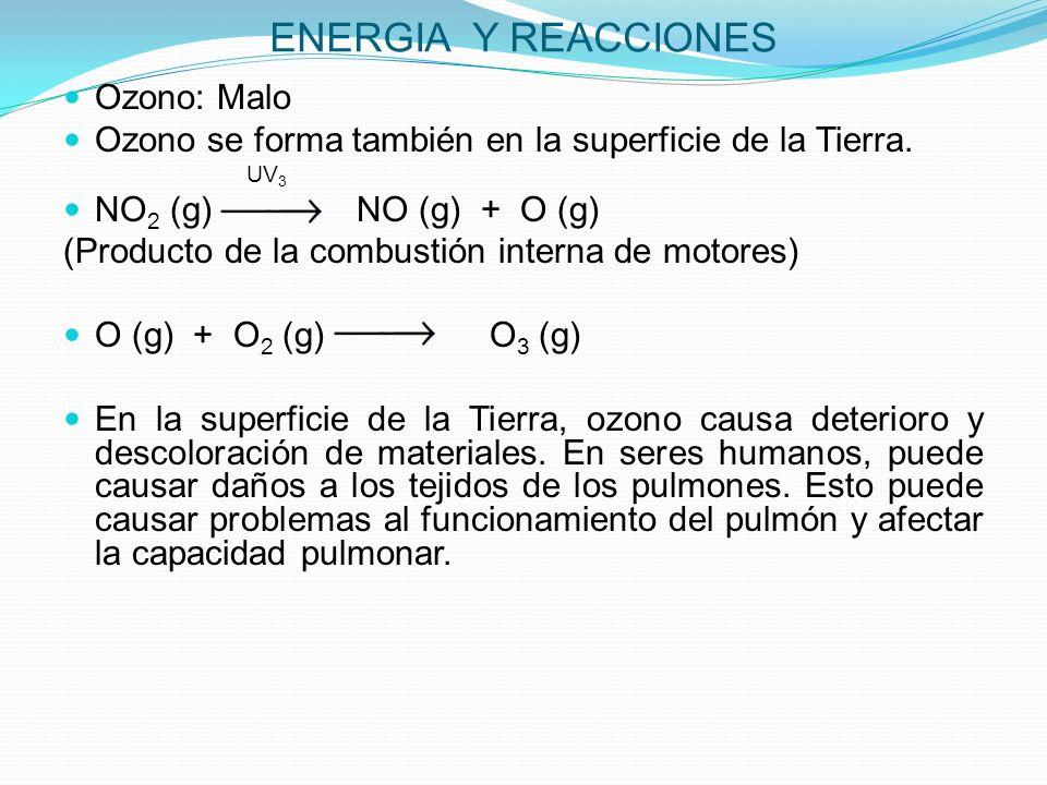 ENERGIA Y REACCIONES Ozono: Malo