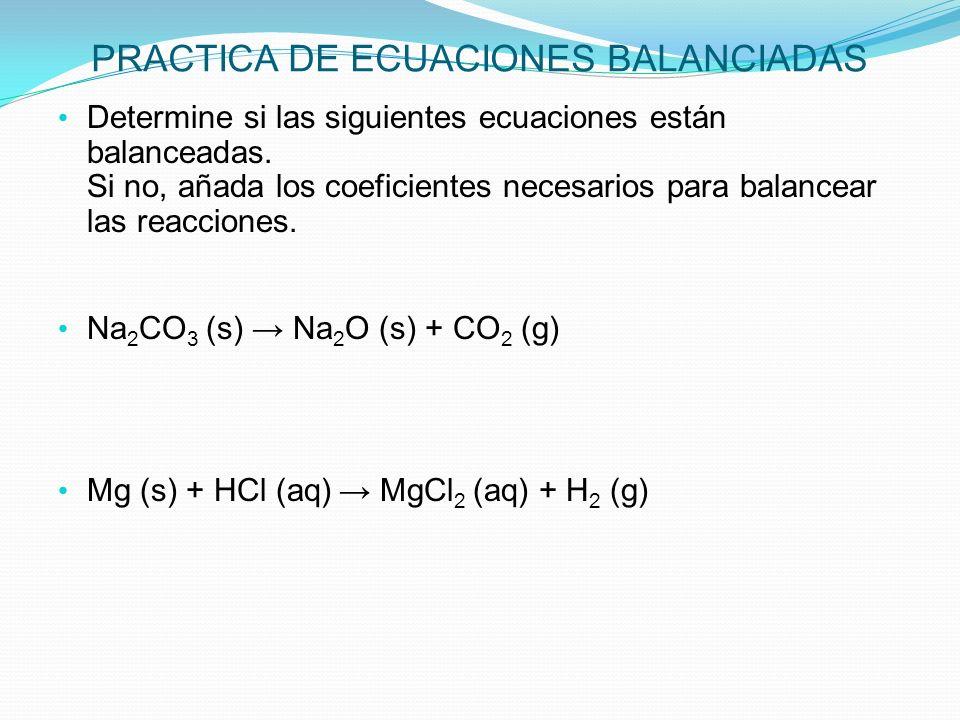 PRACTICA DE ECUACIONES BALANCIADAS