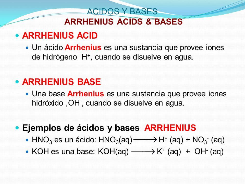 ACIDOS Y BASES ARRHENIUS ACIDS & BASES