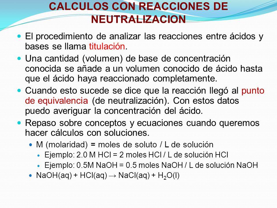 CALCULOS CON REACCIONES DE NEUTRALIZACION