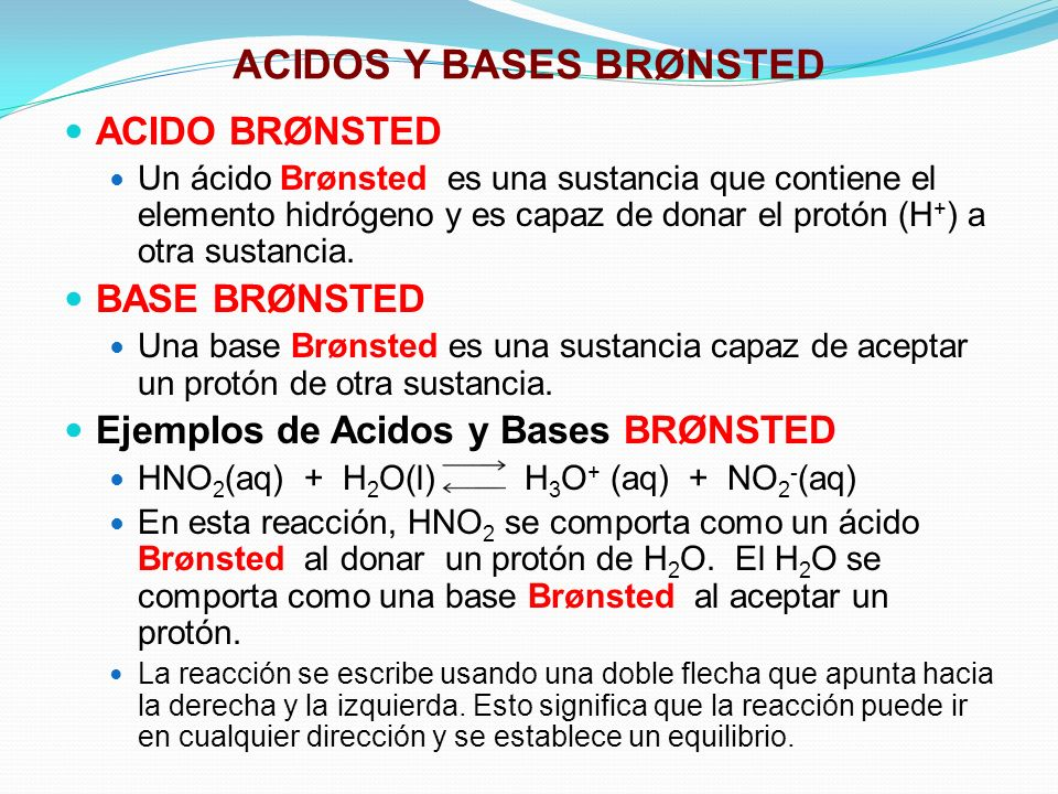ACIDOS Y BASES BRØNSTED