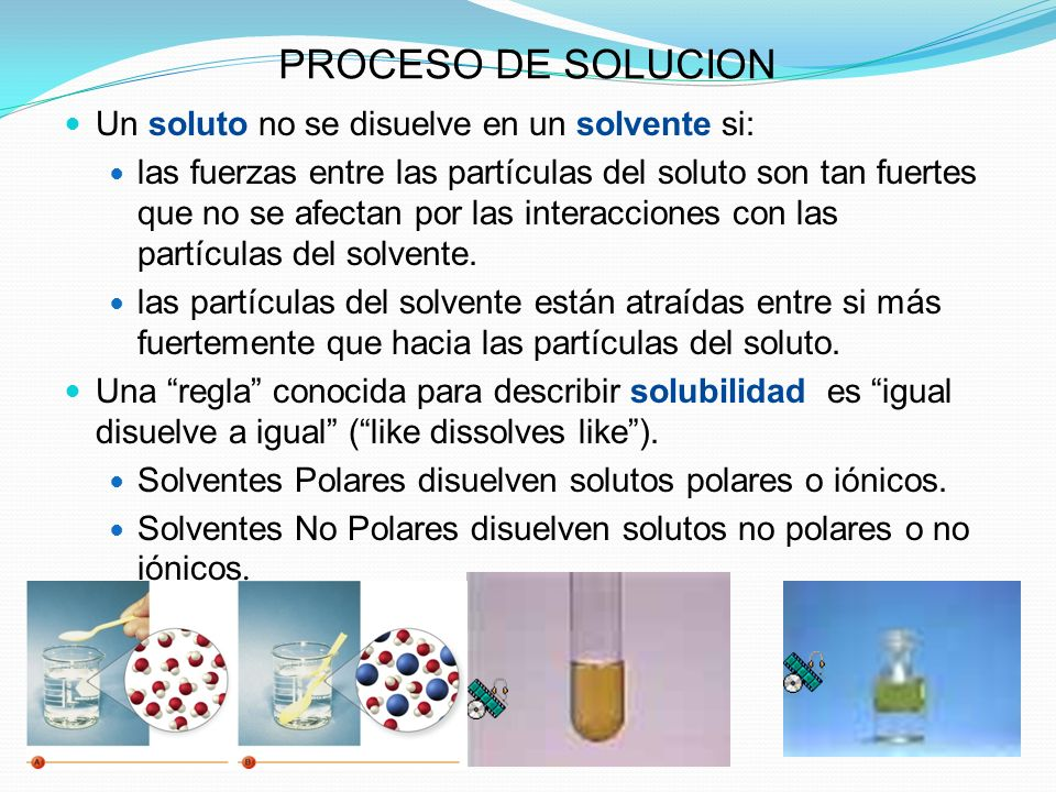 PROCESO DE SOLUCION Un soluto no se disuelve en un solvente si:
