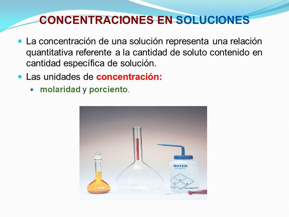 CONCENTRACIONES EN SOLUCIONES