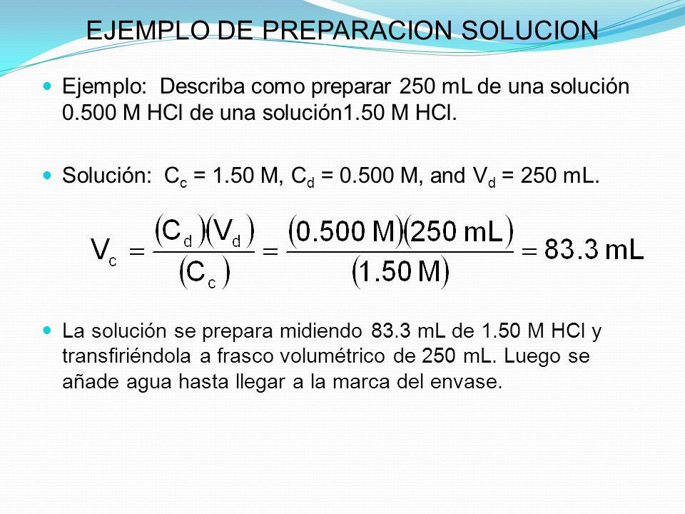 EJEMPLO DE PREPARACION SOLUCION