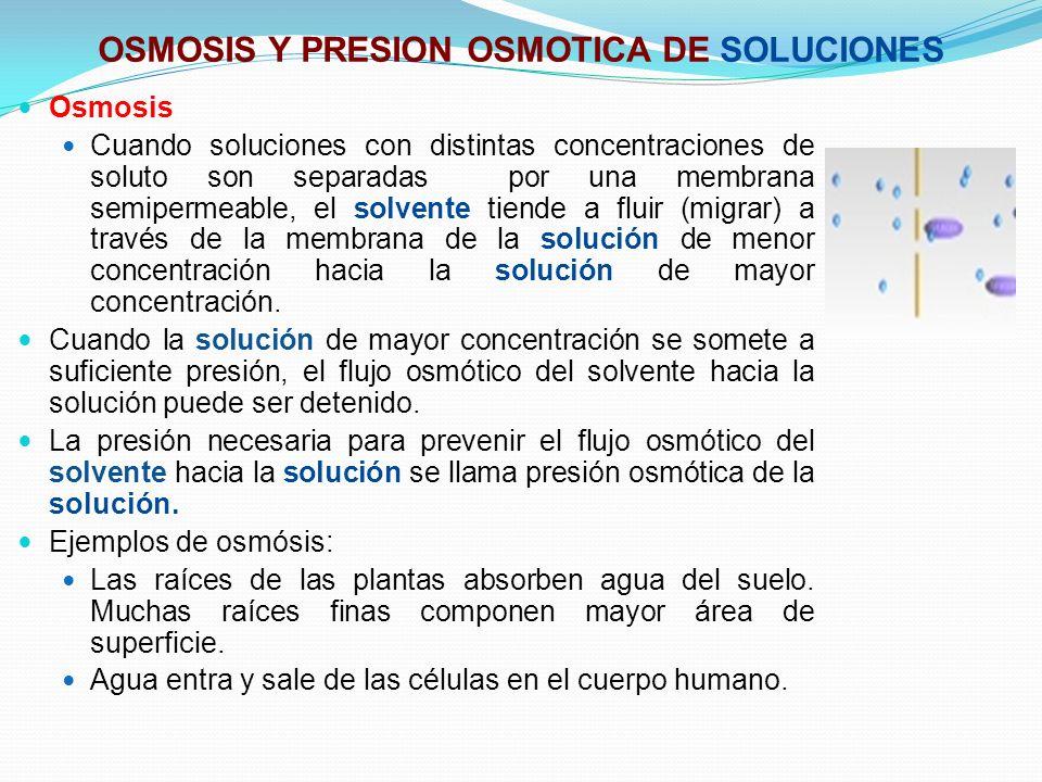 OSMOSIS Y PRESION OSMOTICA DE SOLUCIONES