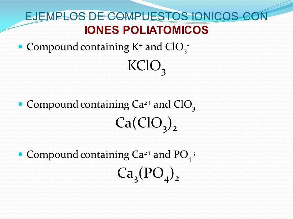 EJEMPLOS DE COMPUESTOS IONICOS CON IONES POLIATOMICOS