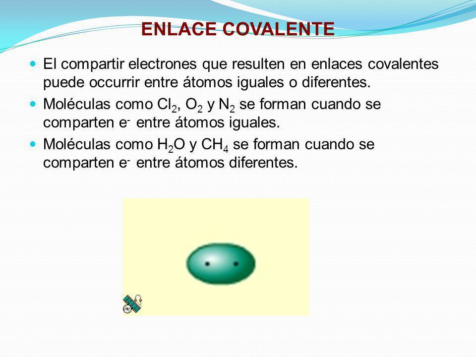 ENLACE COVALENTE El compartir electrones que resulten en enlaces covalentes puede occurrir entre átomos iguales o diferentes.