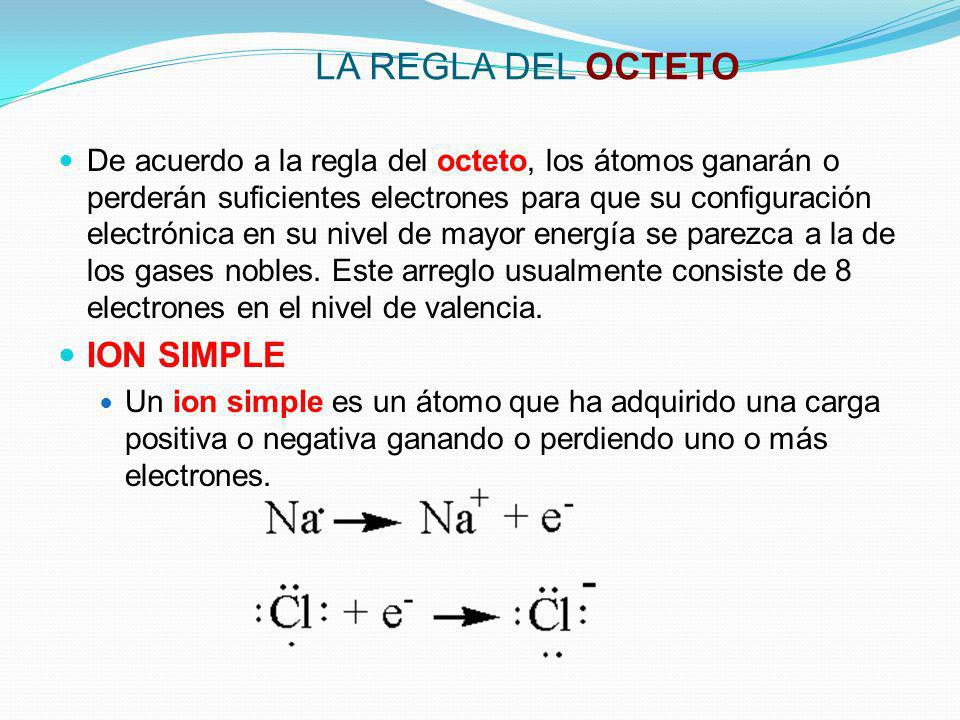 LA REGLA DEL OCTETO ION SIMPLE