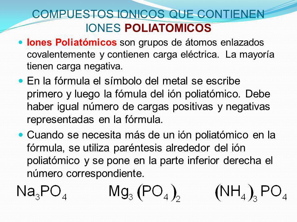 COMPUESTOS IONICOS QUE CONTIENEN IONES POLIATOMICOS