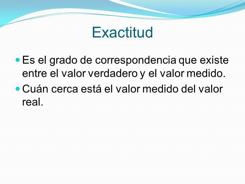 Exactitud Es el grado de correspondencia que existe entre el valor verdadero y el valor medido.