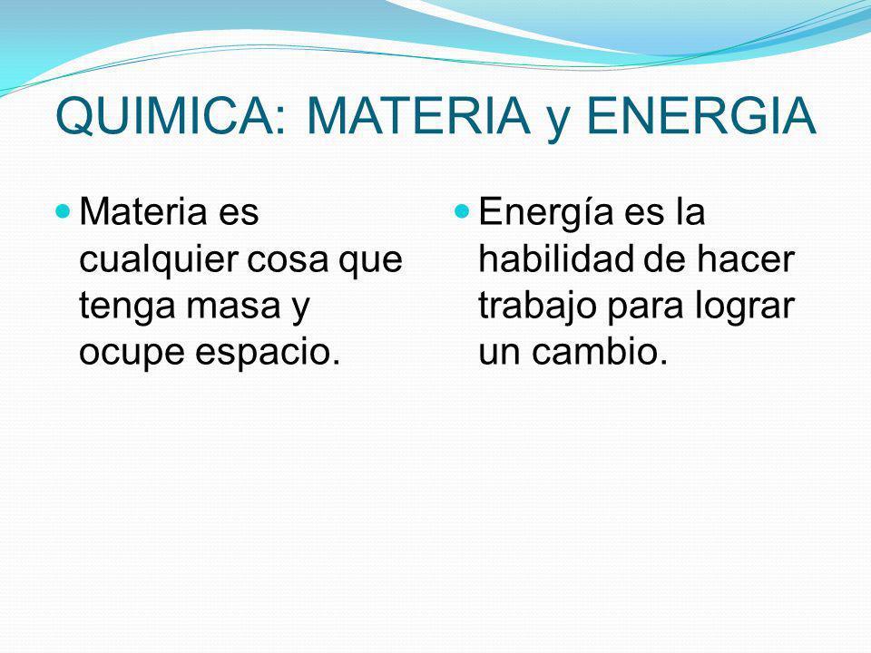 QUIMICA: MATERIA y ENERGIA