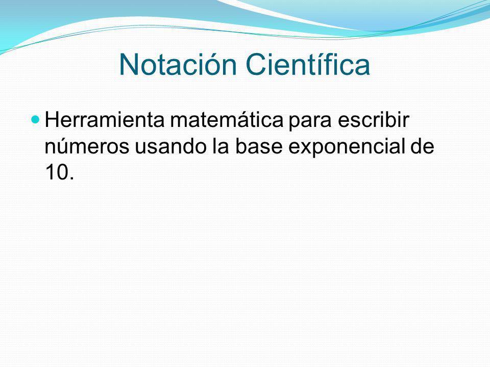 Notación Científica Herramienta matemática para escribir números usando la base exponencial de 10.
