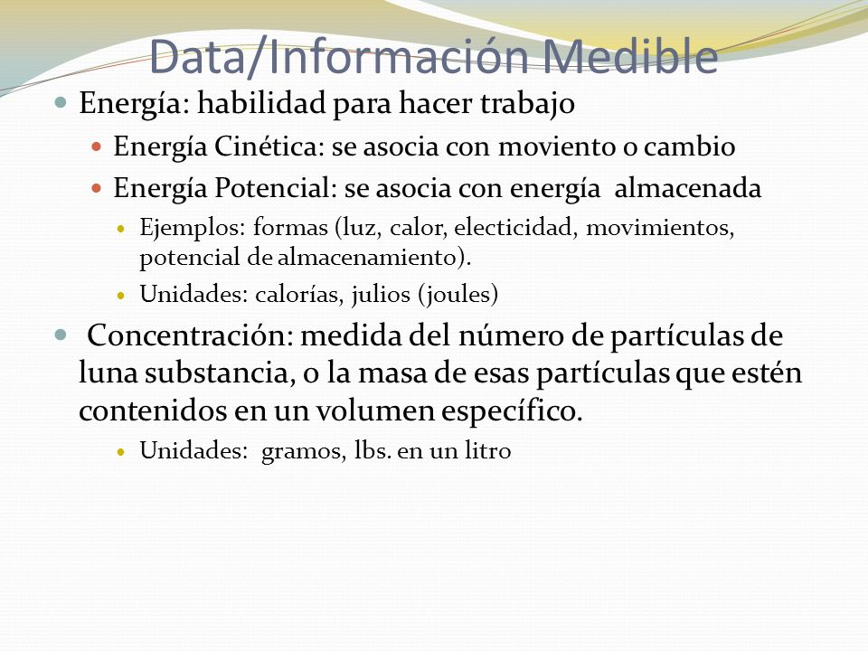 Data/Información Medible