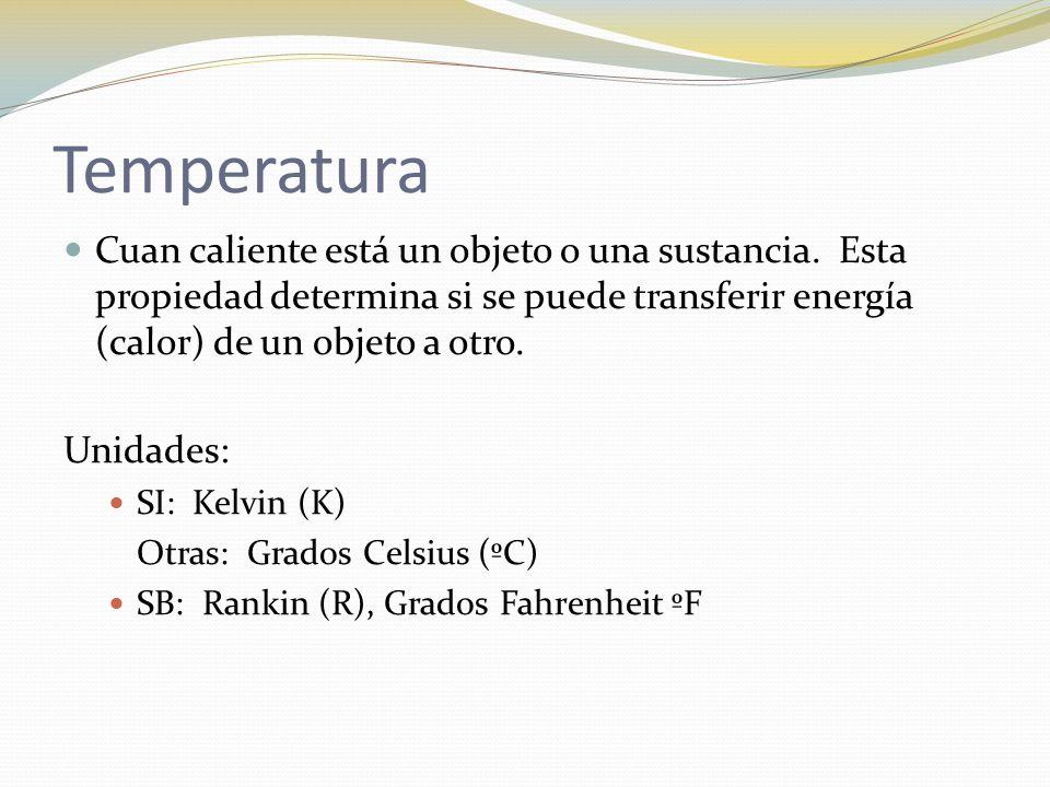 Temperatura Cuan caliente está un objeto o una sustancia. Esta propiedad determina si se puede transferir energía (calor) de un objeto a otro.