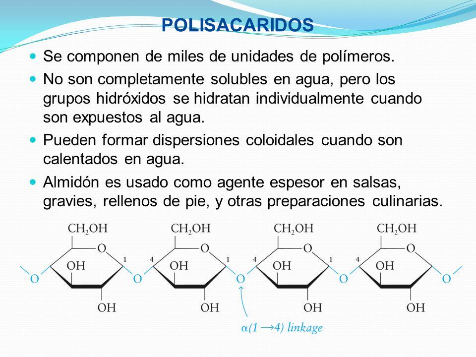 POLISACARIDOS Se componen de miles de unidades de polímeros.