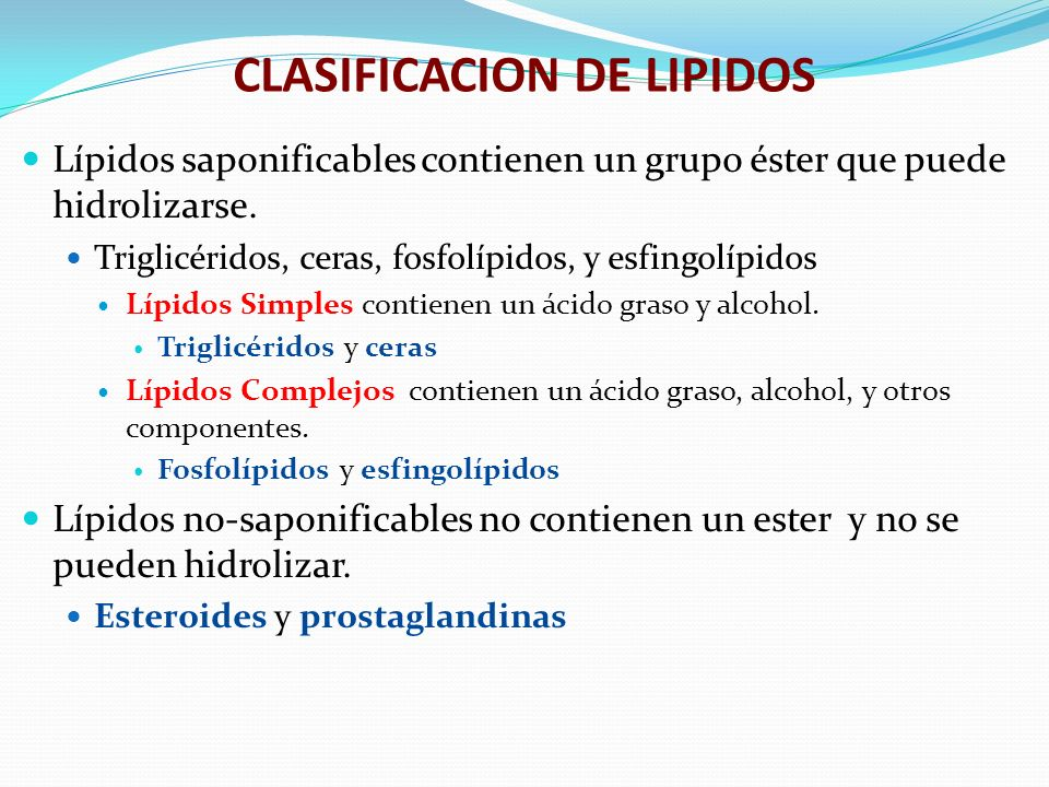CLASIFICACION DE LIPIDOS