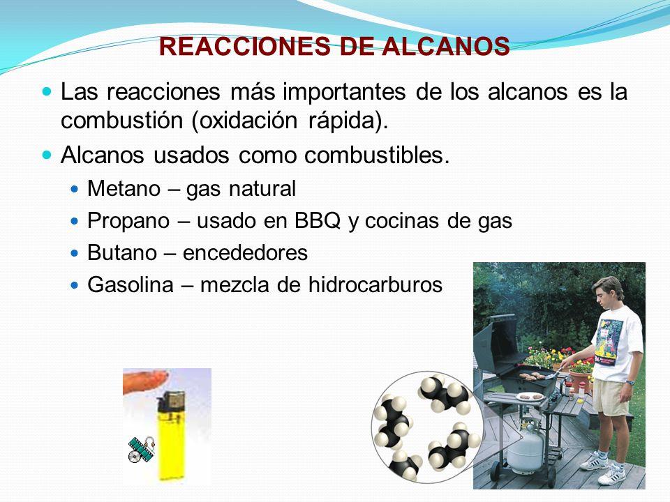REACCIONES DE ALCANOS Las reacciones más importantes de los alcanos es la combustión (oxidación rápida).