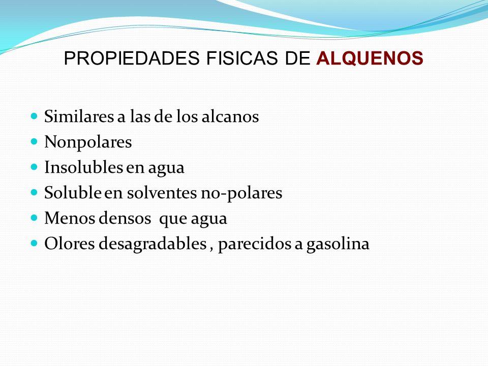 PROPIEDADES FISICAS DE ALQUENOS