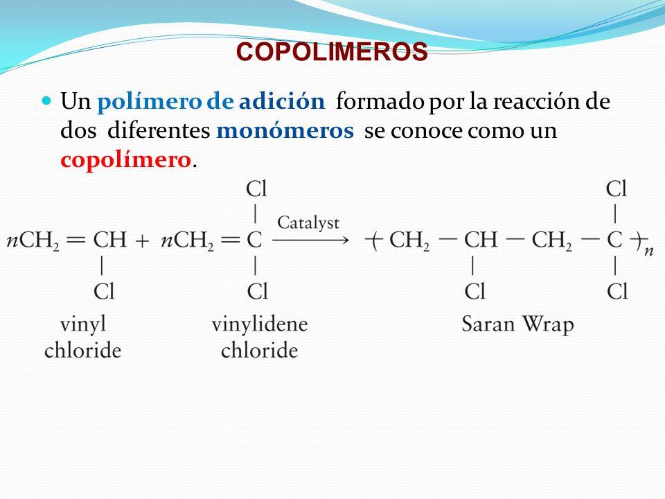 COPOLIMEROS Un polímero de adición formado por la reacción de dos diferentes monómeros se conoce como un copolímero.
