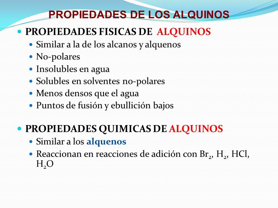 PROPIEDADES DE LOS ALQUINOS