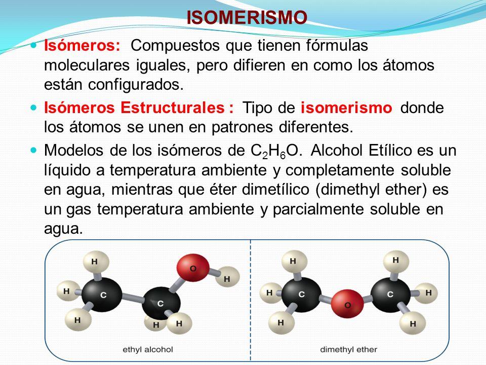 ISOMERISMO Isómeros: Compuestos que tienen fórmulas moleculares iguales, pero difieren en como los átomos están configurados.