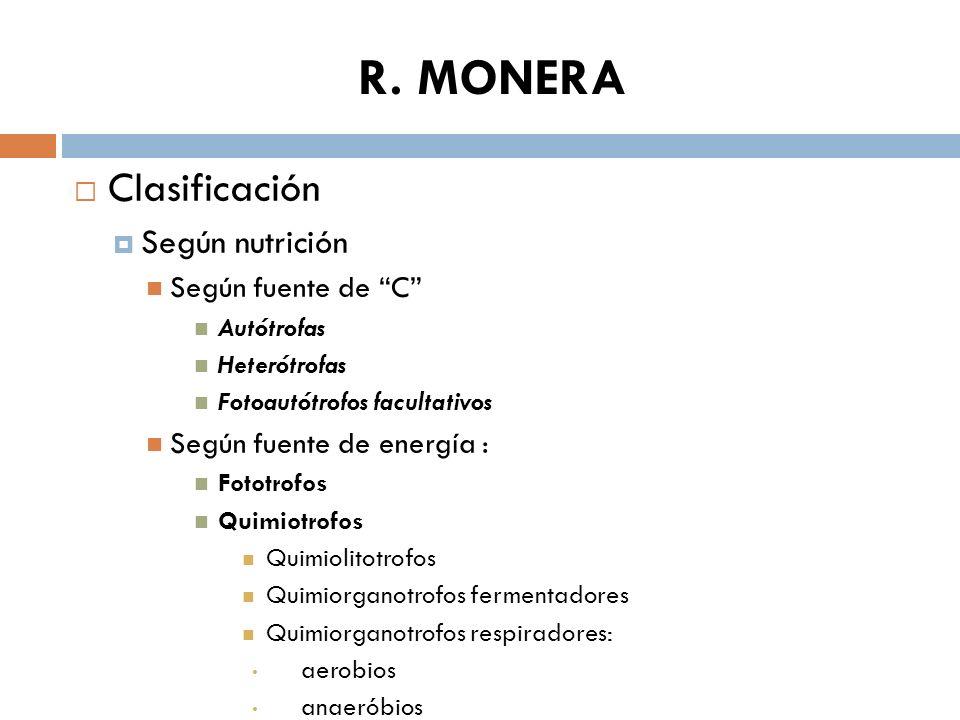 R. MONERA Clasificación Según nutrición Según fuente de C