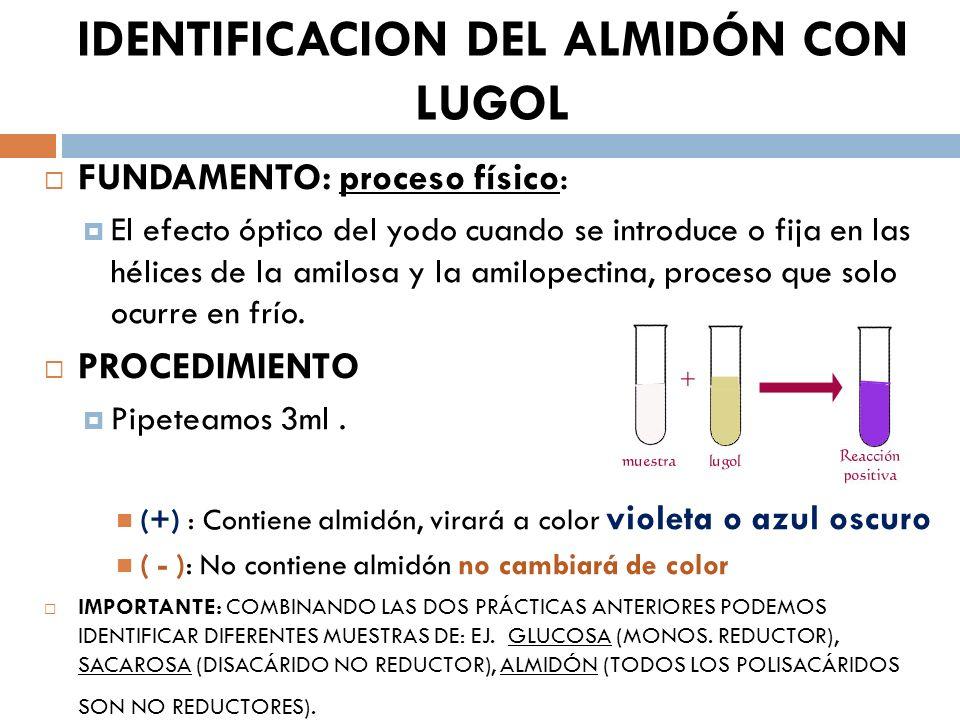 IDENTIFICACION DEL ALMIDÓN CON LUGOL