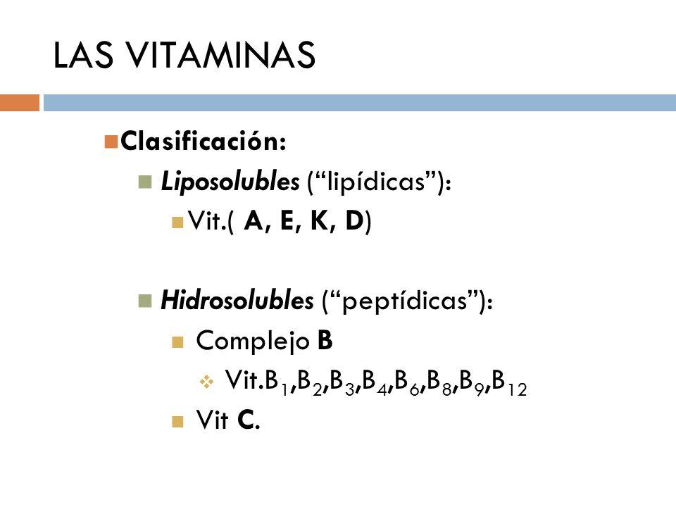 LAS VITAMINAS Clasificación: Liposolubles ( lipídicas ):