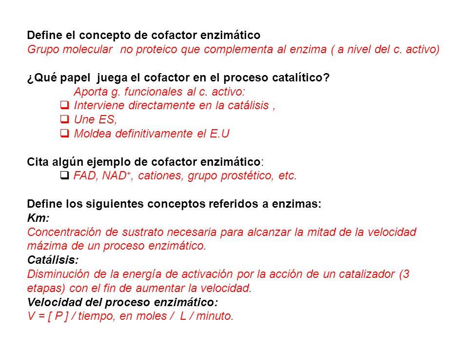 Define el concepto de cofactor enzimático