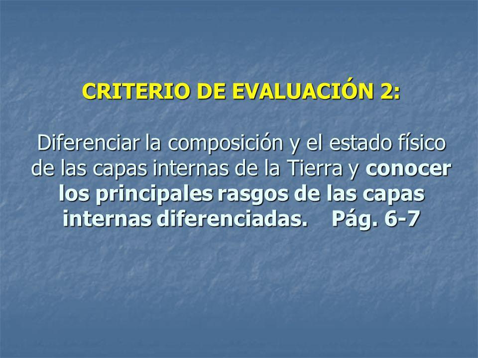 CRITERIO DE EVALUACIÓN 2: Diferenciar la composición y el estado físico de las capas internas de la Tierra y conocer los principales rasgos de las capas internas diferenciadas.