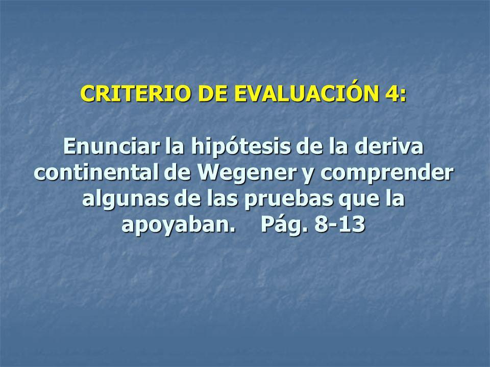 CRITERIO DE EVALUACIÓN 4: Enunciar la hipótesis de la deriva continental de Wegener y comprender algunas de las pruebas que la apoyaban.