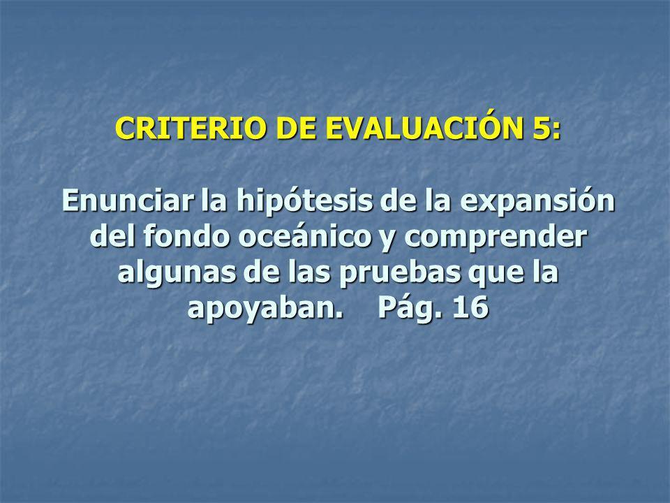 CRITERIO DE EVALUACIÓN 5: Enunciar la hipótesis de la expansión del fondo oceánico y comprender algunas de las pruebas que la apoyaban.