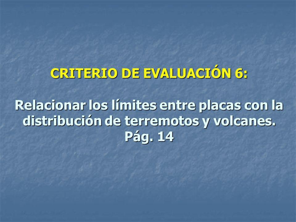 CRITERIO DE EVALUACIÓN 6: Relacionar los límites entre placas con la distribución de terremotos y volcanes.