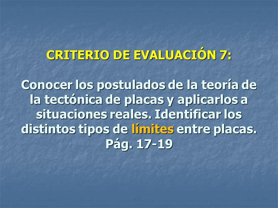 CRITERIO DE EVALUACIÓN 7: Conocer los postulados de la teoría de la tectónica de placas y aplicarlos a situaciones reales.