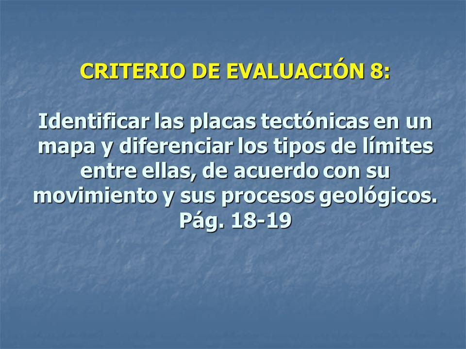 CRITERIO DE EVALUACIÓN 8: Identificar las placas tectónicas en un mapa y diferenciar los tipos de límites entre ellas, de acuerdo con su movimiento y sus procesos geológicos.