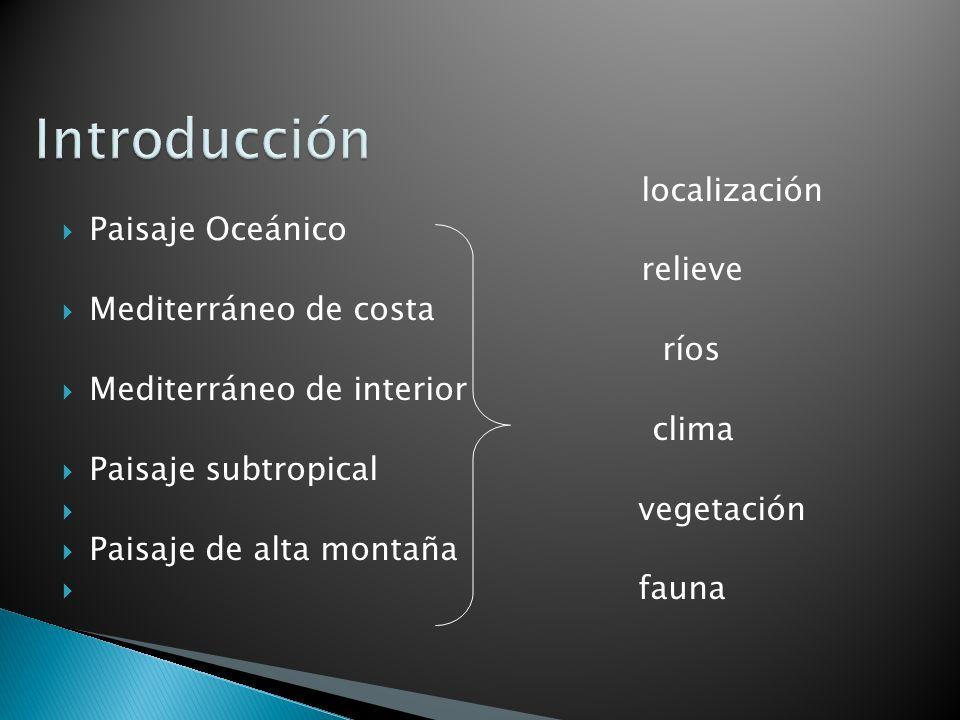 Introducción localización Paisaje Oceánico relieve